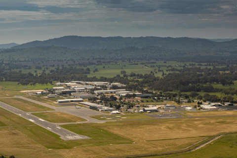 Aerial picture of western precinct design area at Albury Airport