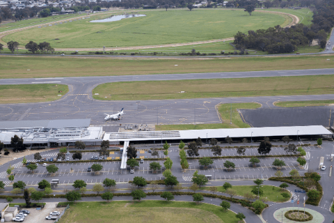 Aerial picture of terminal from south facing north at Albury Airport