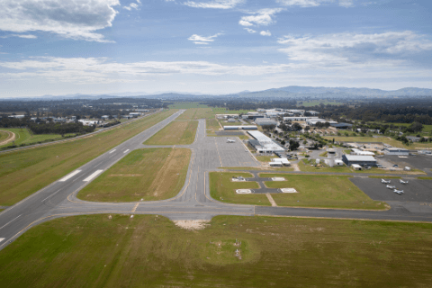 Aerial picture of north apron at Albury Airport