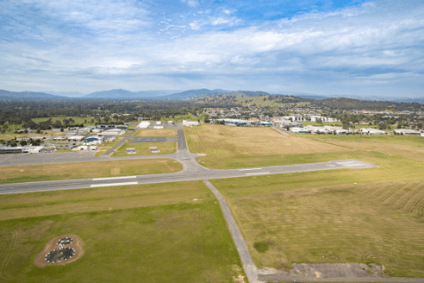 Aerial picture of runway and taxiway at Albury Airport